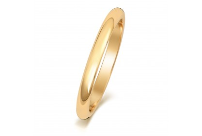 9ct Yellow Gold D Shape 2mm Medium Weight Band